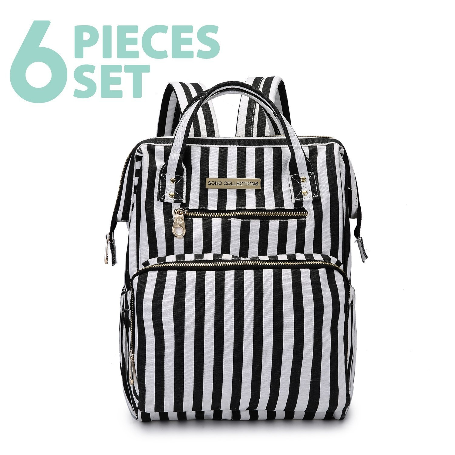 2213c97e799e SoHo nappy bag backpack wide open 5 pcs nappy tote bag for baby mom dad  insulated unisex multifunction large capacity waterproof durable includes  ...