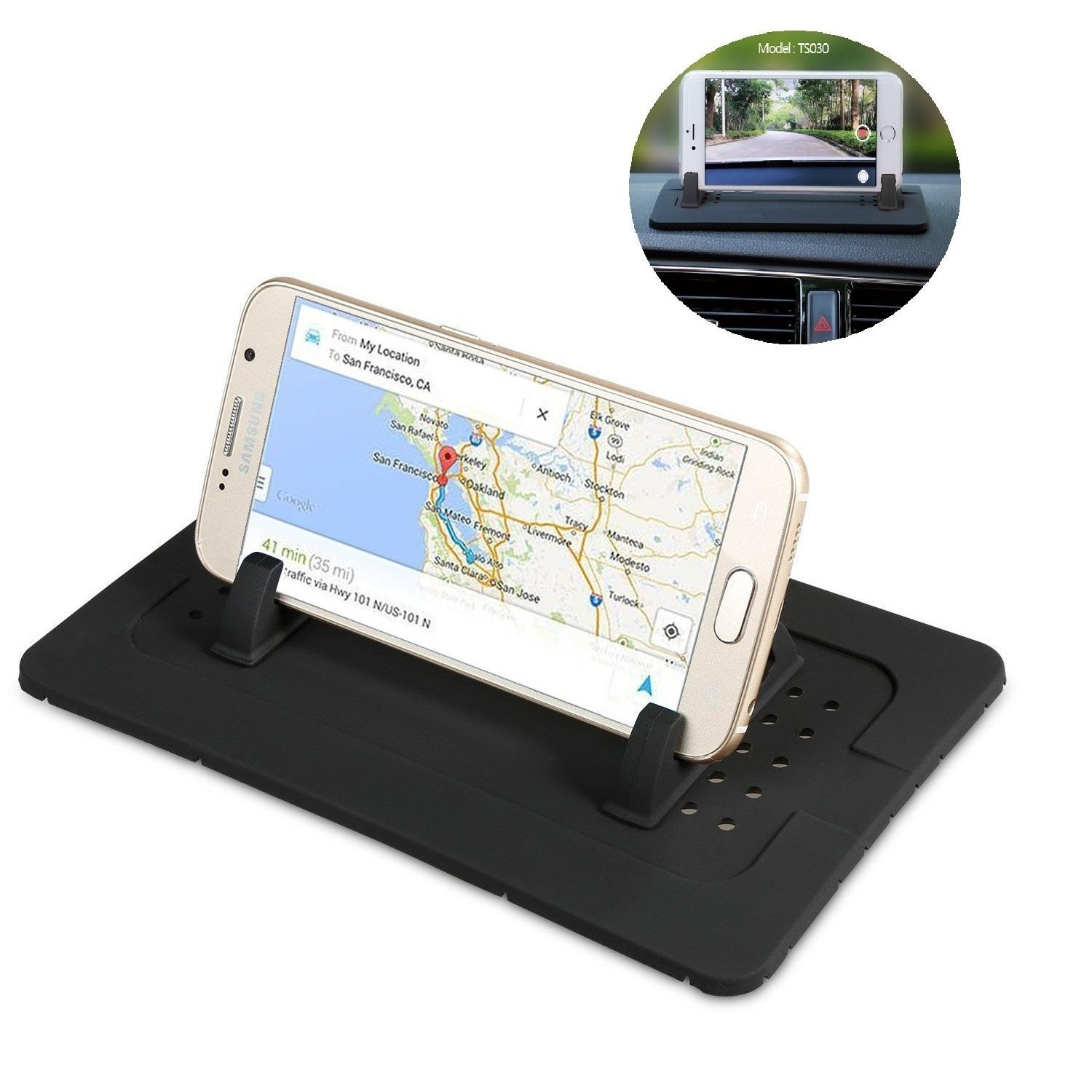 Silicone Car Phone Mount Holder, Car Pad Dash Mat Cradle Dock Anti-slip fpr  Any Smartphone iPhone 8/7/6 Plus Ipad tablet GPS Sat Nav Table Holder