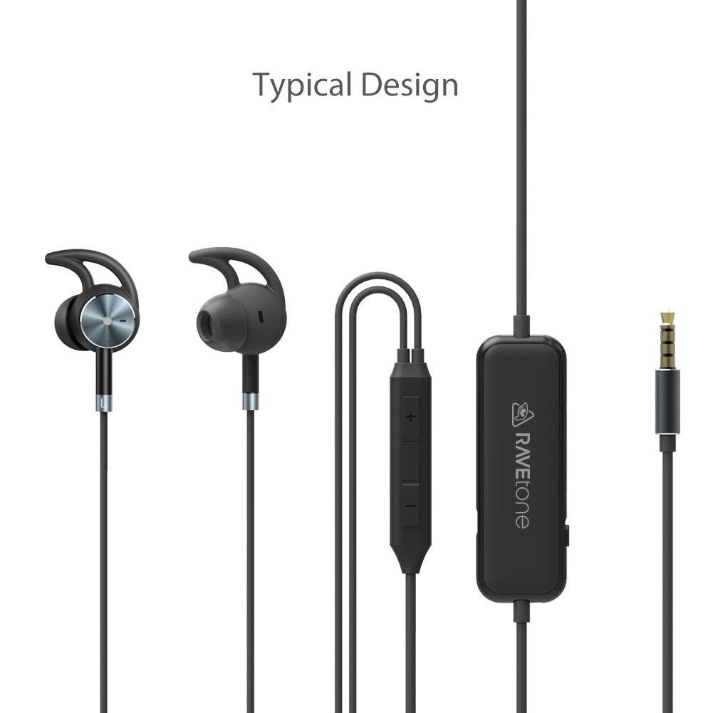 4133f37a587 Active Noise Cancelling Earphones, RAVEtone Wired HD Stereo In Ear ...