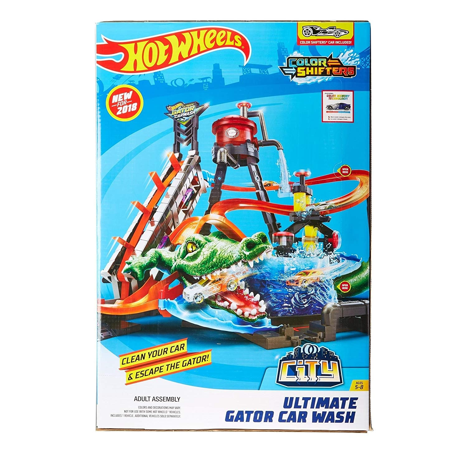 Hot Wheels City Gator Car Wash Set With Diecast And Toy Car By Hot