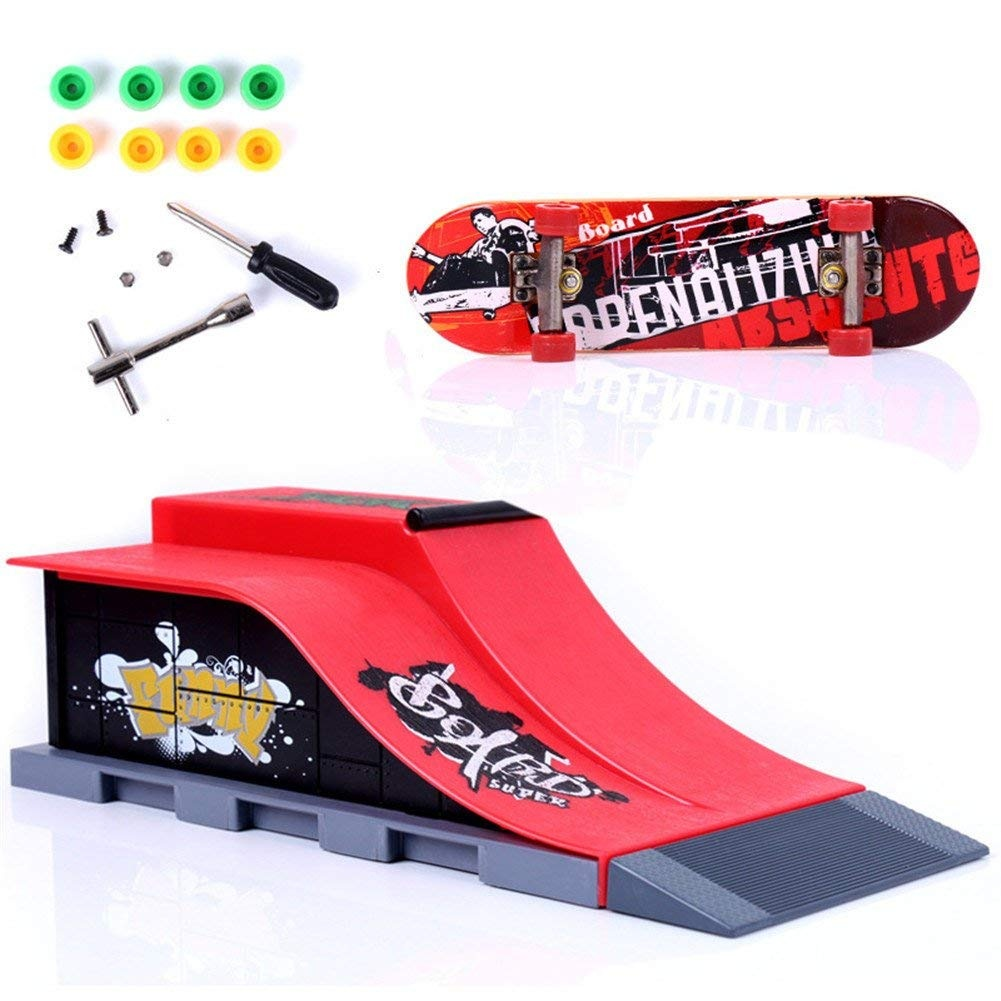 Remeehi Mini Scene Toy Skate Park Ramp Parts for Tech Deck Fingerboard  Finger Skateboard Runway X-sports Parks Ramp E