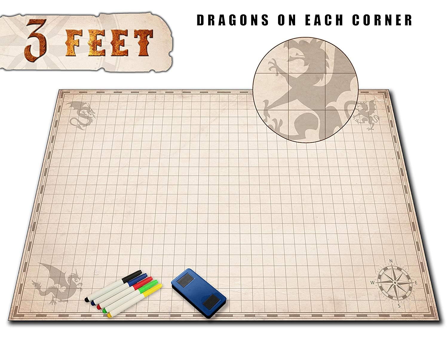 Jumbo DND Role Play Game Mat - 90cm X 60cm - Battle Grid RPG Dungeons  Dragons Style Tiles - Reusable Dry Erase Gaming Map - Miniature Figure and