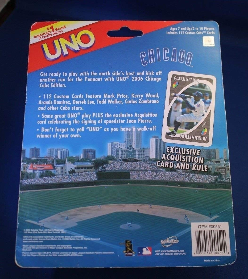 4bbc7c6c S.T Official MLB Chicago Cubs Edition UNO Card Game