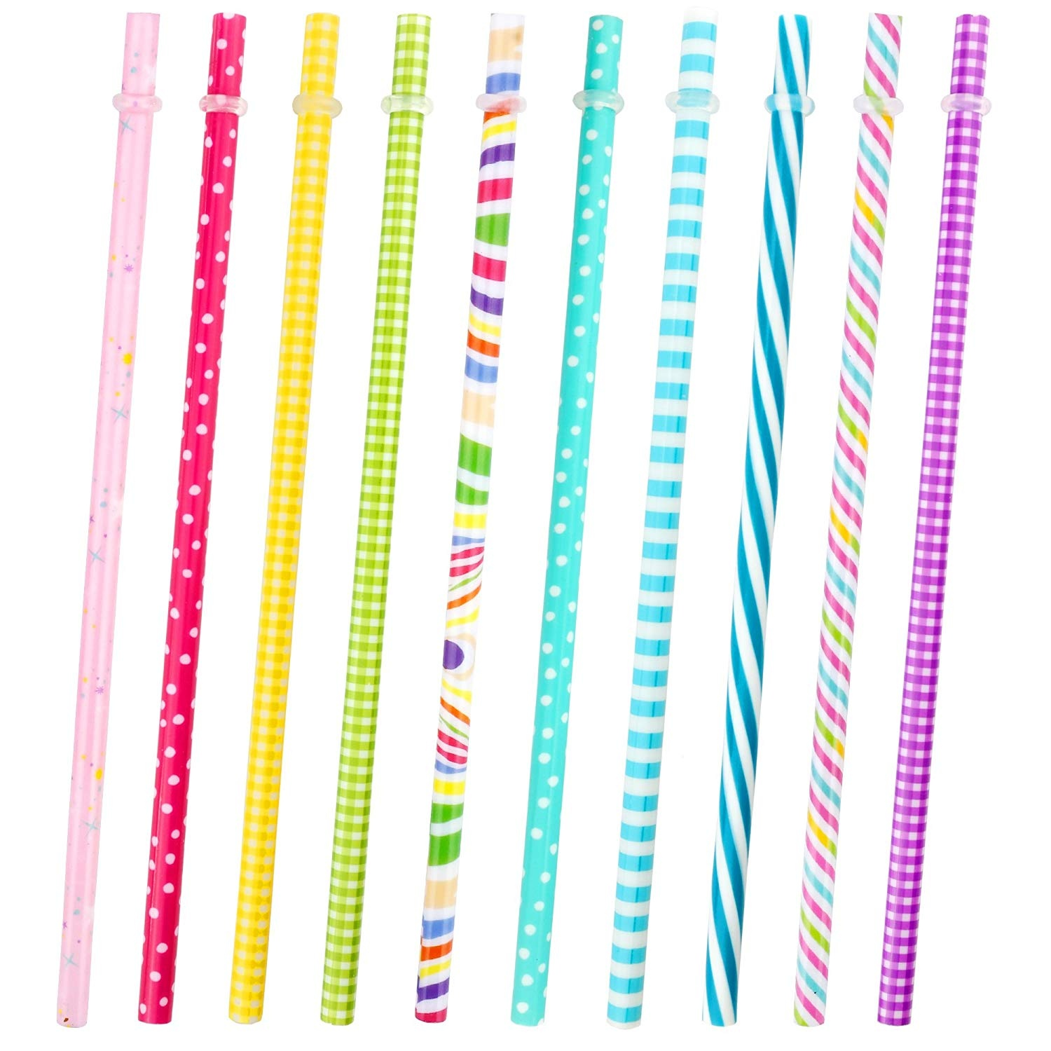 40 Pieces Reusable Straws,BPA-Free,23cm Colourful Hard Platic Stripe  Drinking Straw for Mason Jar Tumbler,Family or Party Use,Cleaning Brush  Included