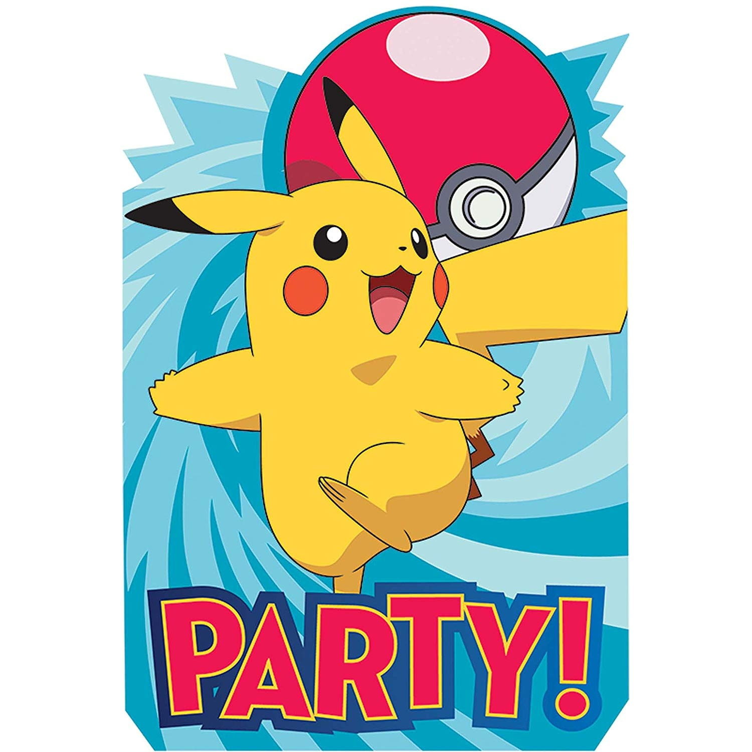 Pokemon Birthday Party Supplies 8 Pack Invitations By