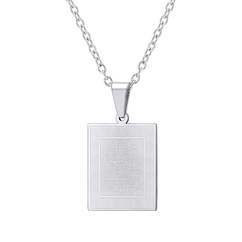 Prosteel Quran Ayatul Kursi Charm Pendant Necklace For Muslim With Chain 50 5 Cm Send Gift Box Velvet