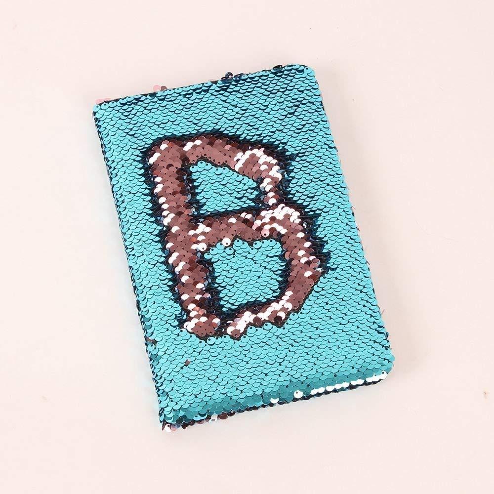 MFam Mermaid Sequin Journal Reversible Sequin Office Notebook Mermaid  Notepad School Diary for Girls (Light Blue/Pink)