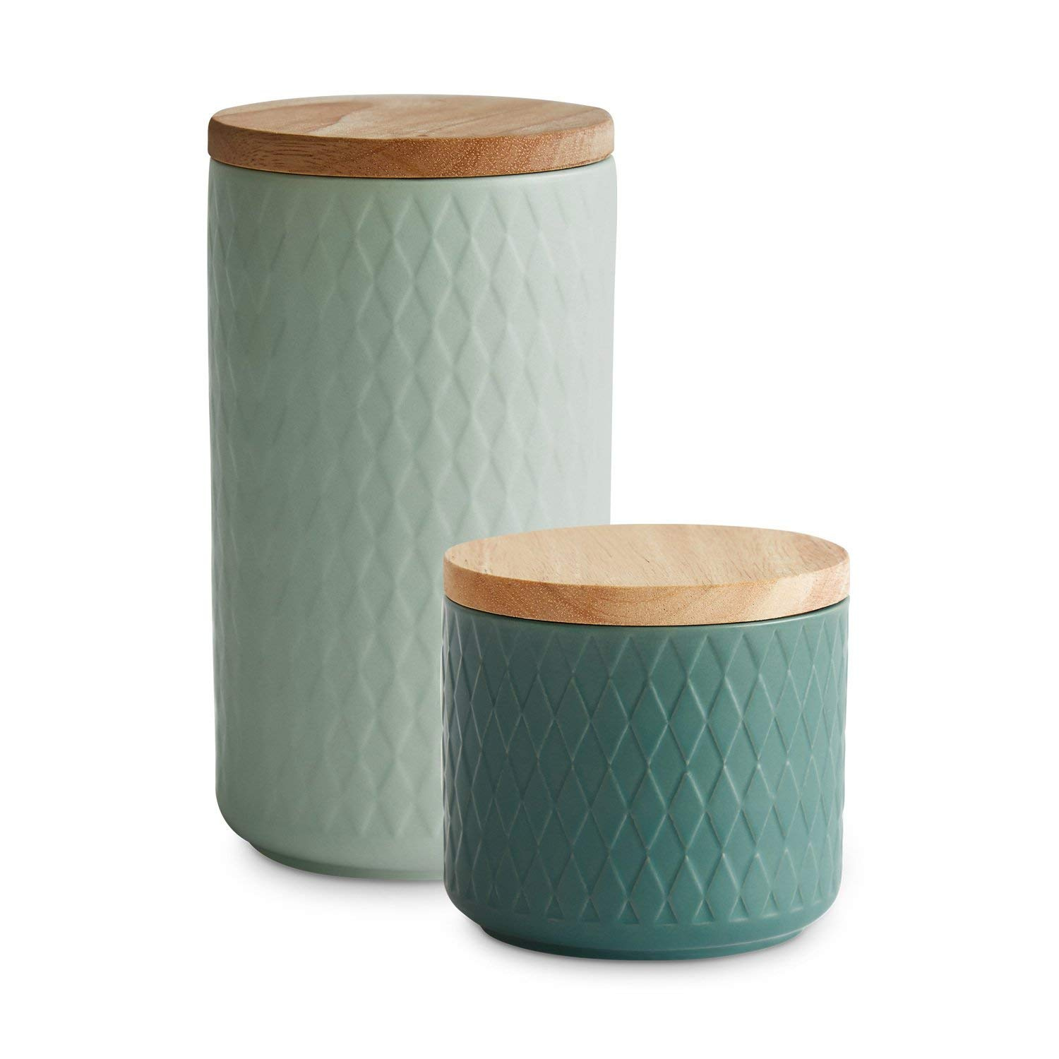 Ceramic Storage Jar With A Wooden Lid Nordic Reef By Springlane Kitchen |  Air Tight Rubberwood Lid | Storage Container, Capacity Between 400 Ml And 1  Litre ...