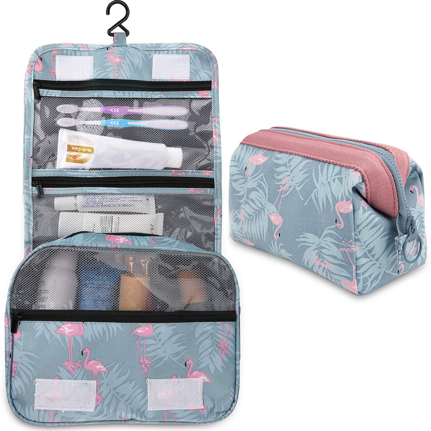 2 Pieces Toiletry Bag Multifunction Hanging Cosmetic Bag Portable ... 9603da9f36bfe