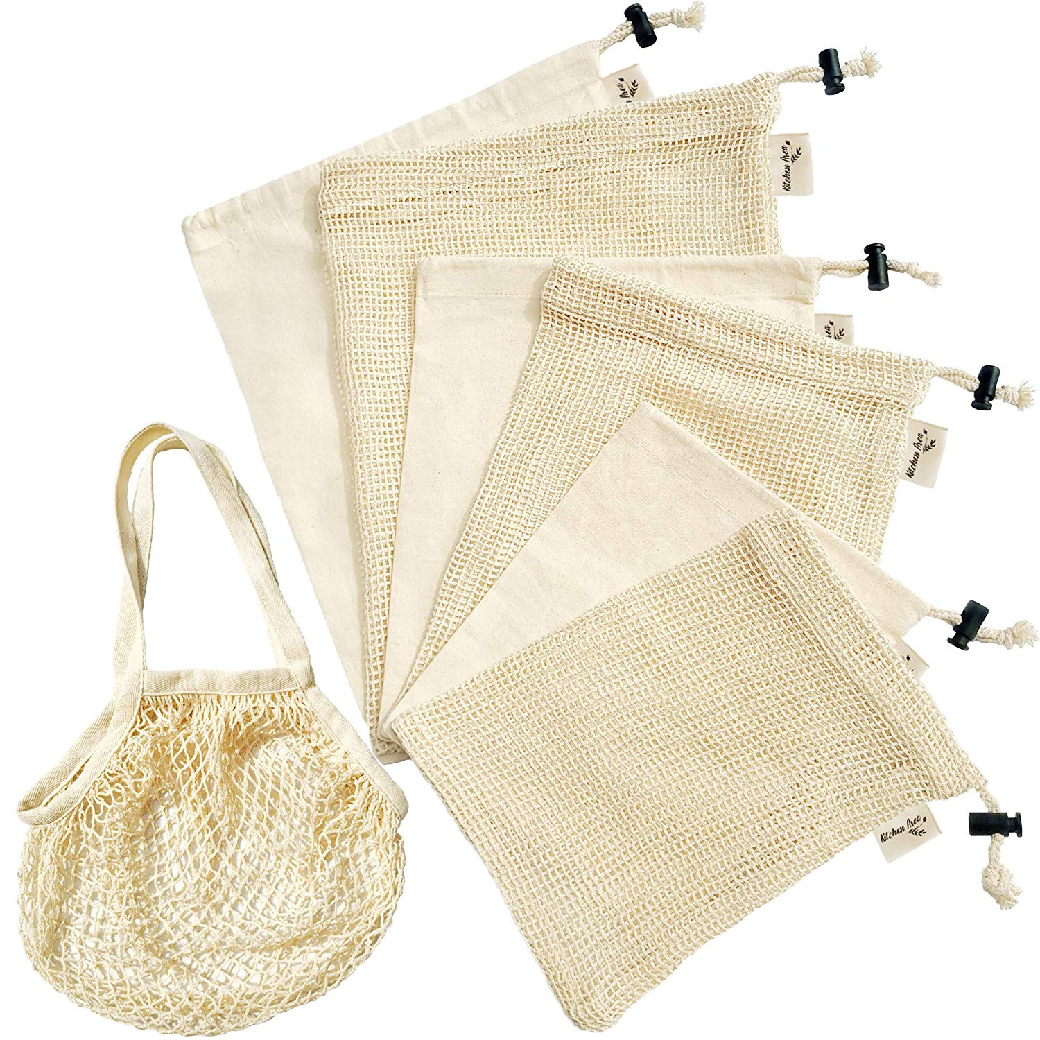 c043fc26ceea Reusable Produce Bags Set of 7 (3 Mesh 3 Muslin & 1 Grocery Bag) - Premium  Eco-Friendly Organic Biodegradable Washable Cotton Cloth Drawstring Bags ...