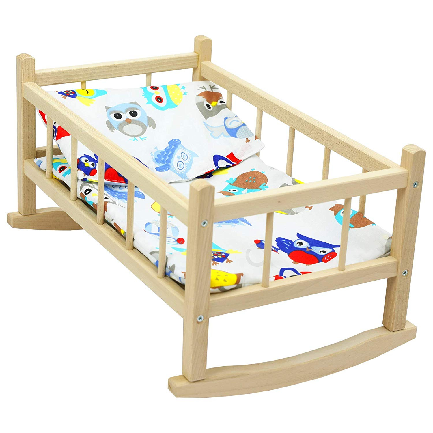 SET OF Dolls Pink and White Wooden Rocking Cradle Cot Bed and ...