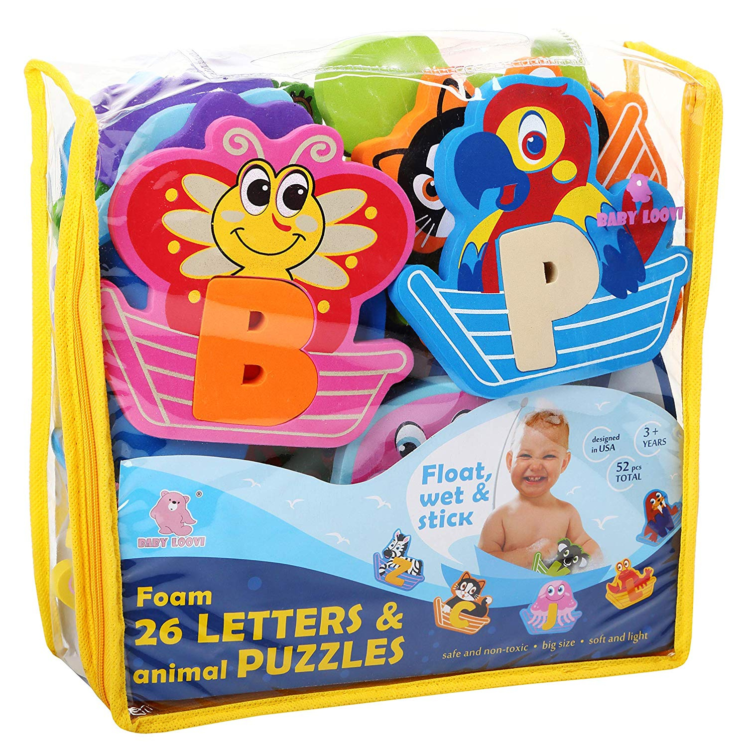 Foam Letters Bath Toys - Fun and Educational Floating Toys with FREE Bath  Organiser Storage Bag - Early Learning Colours Letters Shapes and Animals -