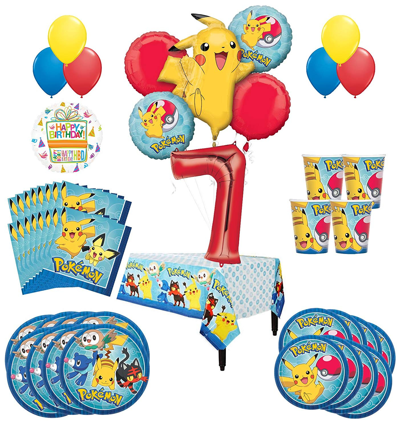 Pokemon 7th Birthday Party Supplies And 8 Guest 54pc Balloon