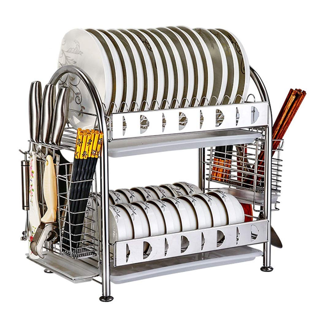 Dish Rack.2 Tier 304 Stainless Steel Dish Drainer Rack Holder Dish Drying Rack Organisation Shelf Drainer Dryer Tray Cutlery Holder With Drip Tray