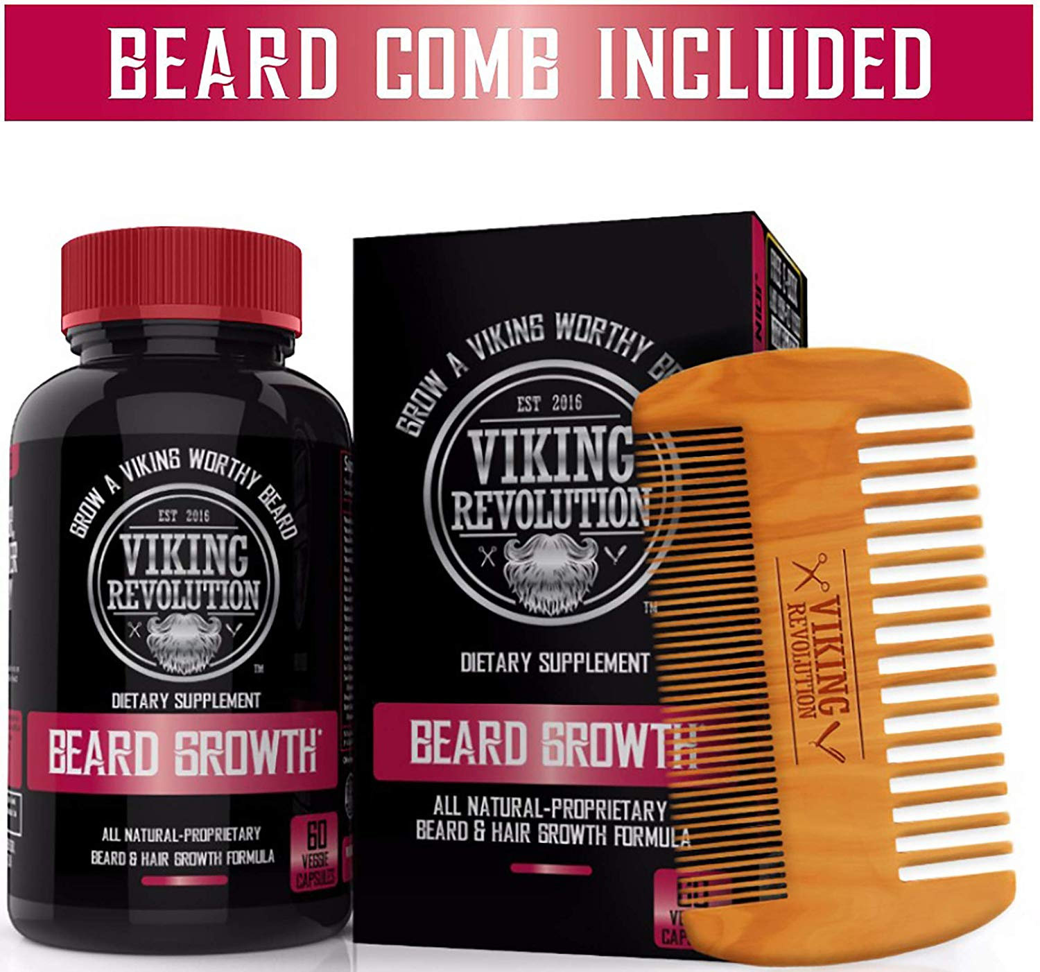 Best Deal Beard Growth Vitamin Supplement for Men - for a Fuller, Thicker,  Beard Growth - Potent Formula for Maximum Facial Hair Growth by Viking