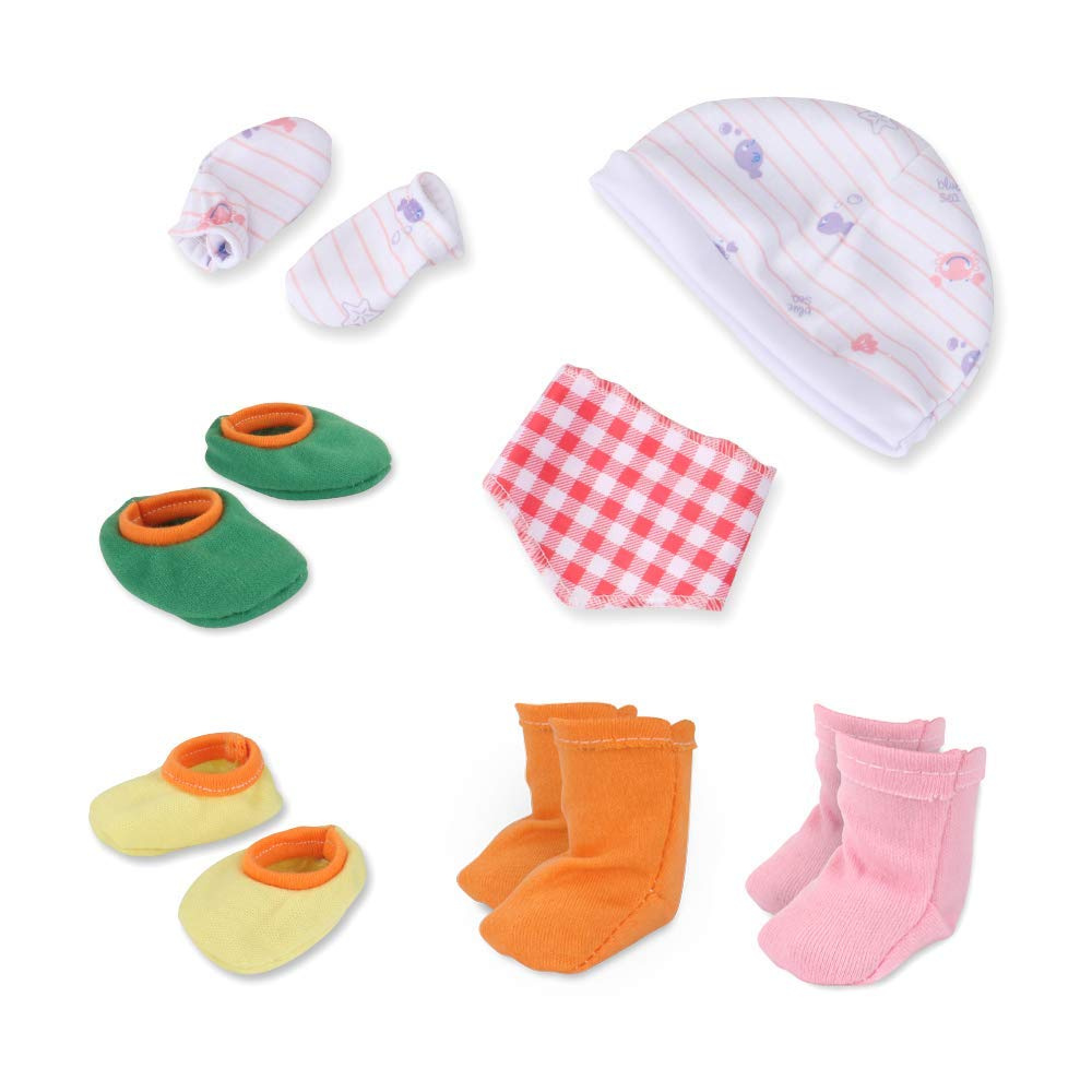 c897c8c4a98 WakaoFeeling Baby Dolls Alive Clothes Outfits and Accessories Include Cap  Drool Bibs Underwear Mitten Shoes Socks for 12-36cm Newborn Reborn Baby  Born Doll ...