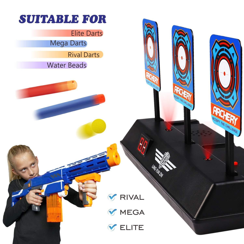 JVIGUE Electronic Digital Target for Nerf Guns N-Strike Elite/Mega/Rival  Series - Auto-Reset Intelligent Light Sound Effect Scoring Targets Toys for