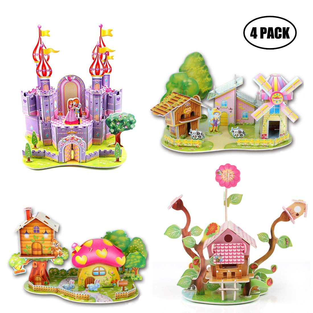 45b7d646d 3D Puzzle DIY Building Model Craft Kits for Ages 3-5 5-8 8-10 10-12 Year  Old Girls Kids Boys,Colourful Castle Windmill Houses Cardboard 3D Puzzle  Toys for ...