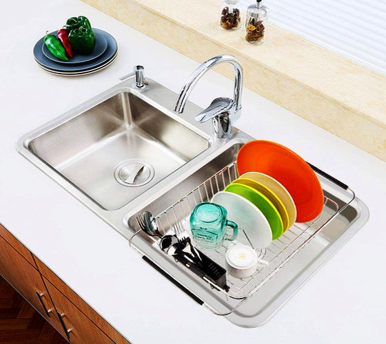 Sink Dish Drying Rack with Silverware Drying Storage Holder, in Sink or on  Countertop Dish Drainer, Adjustable Bar Drying Basket, Rust resistant