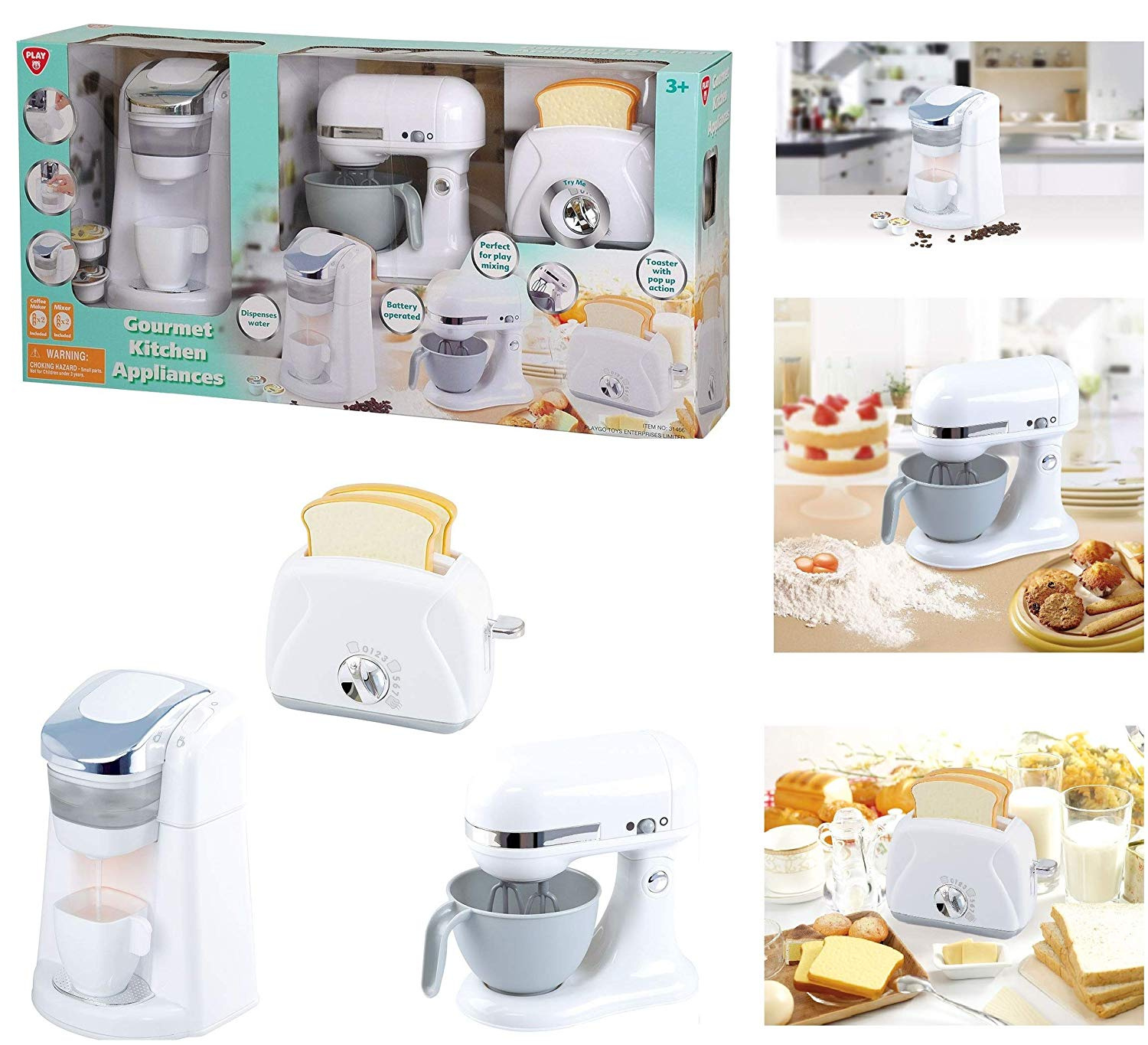 Playgo Gourmet Kitchen Appliances White Real Sounds And Play Features Includes Coffee Maker Mixer And Realistic Toaster
