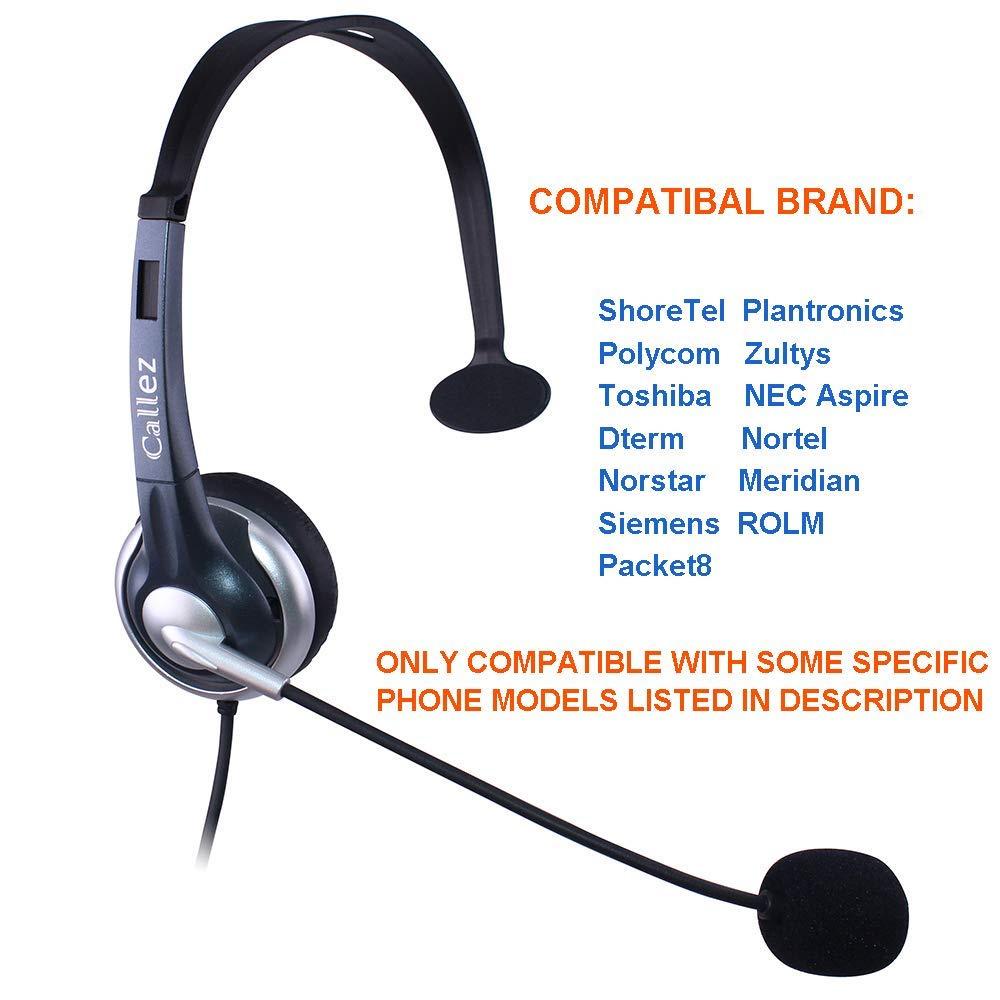 Callez Corded IP Phone Headset with Noise Cancelling Mic RJ for ShoreTel  Plantronics Polycom Zultys Toshiba NEC Aspire Dterm Nortel Norstar Meridian