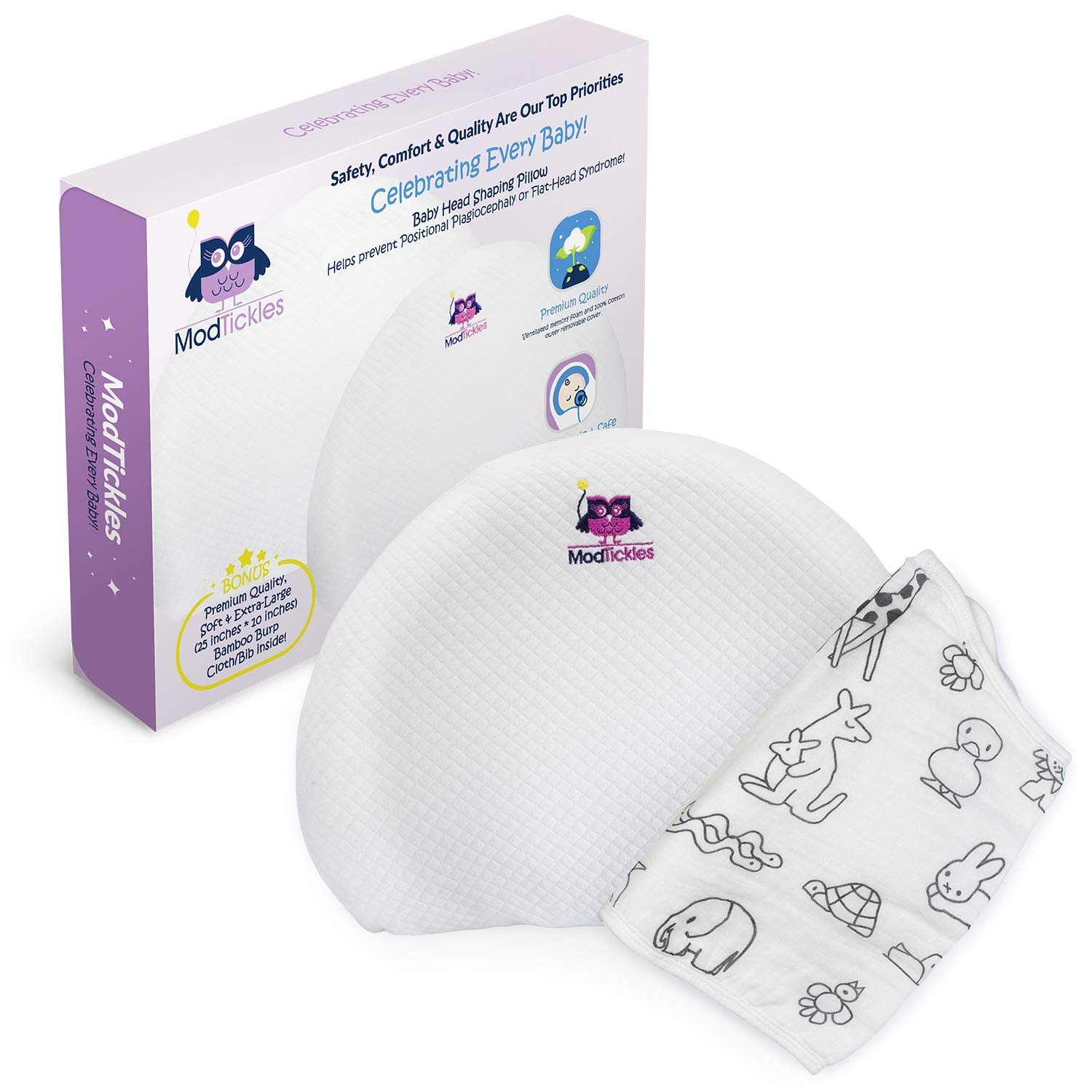Baby Head Shaping Pillow - Prevent Flat Head Syndrome - Head Support for  Infants & Newborns - Firm Memory Foam Pillow - Keep Head Round & Avoid Flat