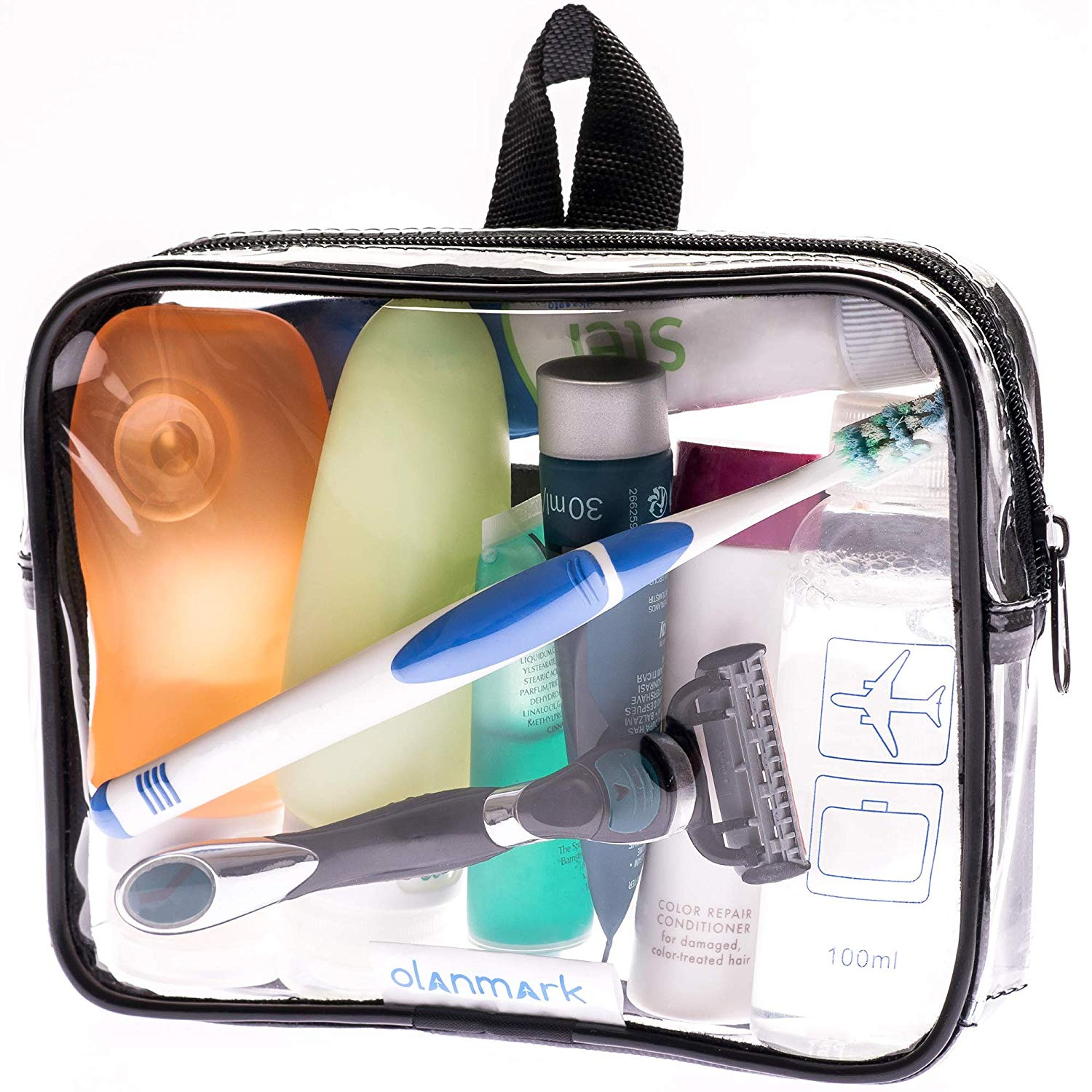 f2ee1b344b48 TSA Approved Toiletry Bag 3-1-1 Clear Travel Cosmetic Bag with Handle -  Quart Size Bag with Zipper - Carry-on Luggage Clear Toiletry Bag for  Liquids - ...