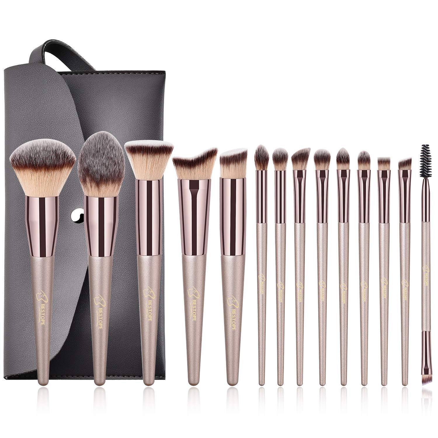 d840d0b35783 Makeup Brushes BESTOPE 14 Pcs Premium Synthetic Make up Brushes Champagne  Gold Brushes for Foundation Kabuki Blush Concealer Eyeshadow