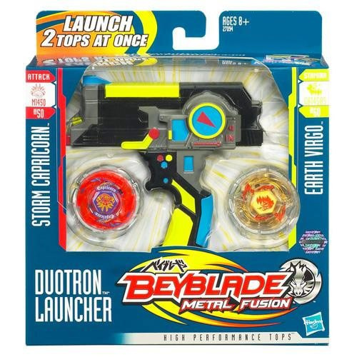 Beyblades Metal Fusion Exclusive Black Duotron Launcher Includes #BB50  Storm Capricorn #BB60 Earth Virgo