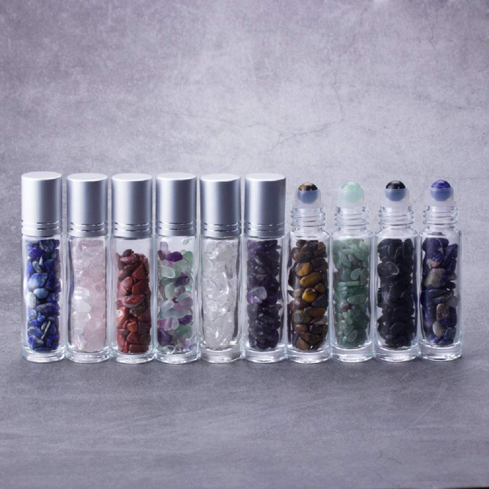 bd9373503cbd 10Pcs 10ml Gemstone Essential Oil Roller Bottles Natural Semiprecious  Stones Transparent Glass Roll-on Bottles with Silver Caps and Healing  Crystal ...