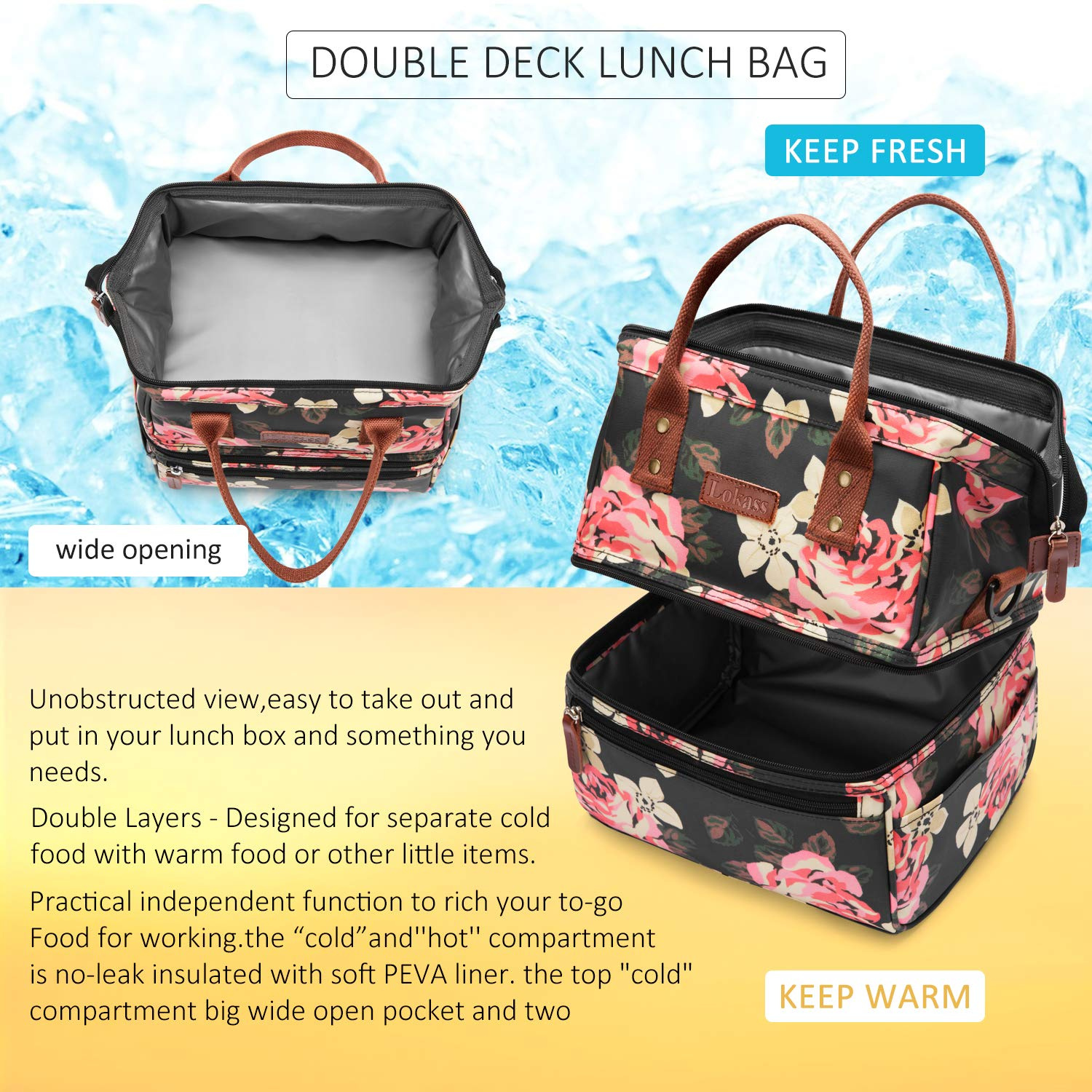 ec2630da0ce0 Lokass Lunch Bags for Women Wide Open Insulated Lunch Box With Double Deck  Large Capacity Cooler Tote Bag With Removable Shoulder Strap Lunch ...