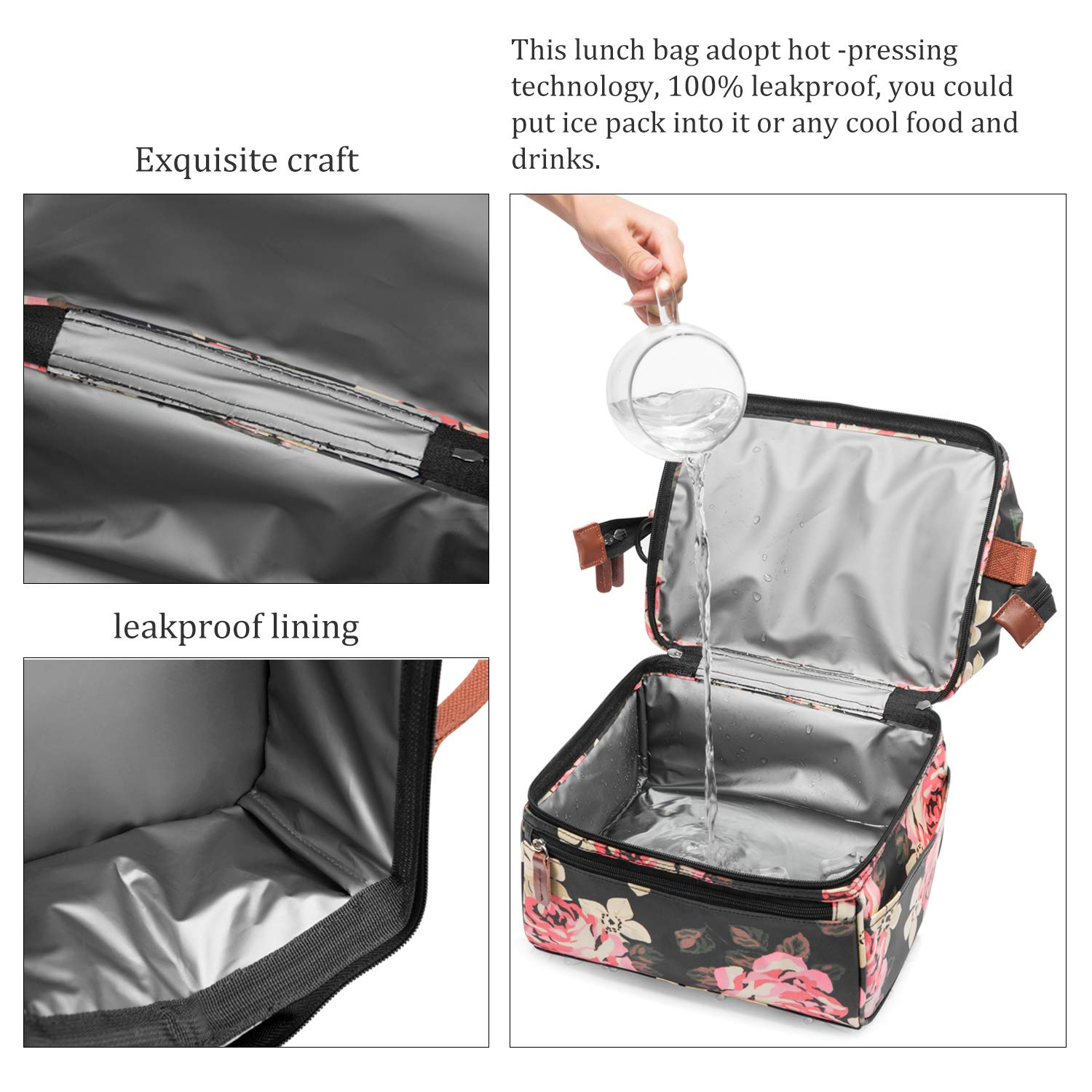 15cc114b1b14 Lokass Lunch Bags for Women Wide Open Insulated Lunch Box With Double Deck  Large Capacity Cooler Tote Bag With Removable Shoulder Strap Lunch ...