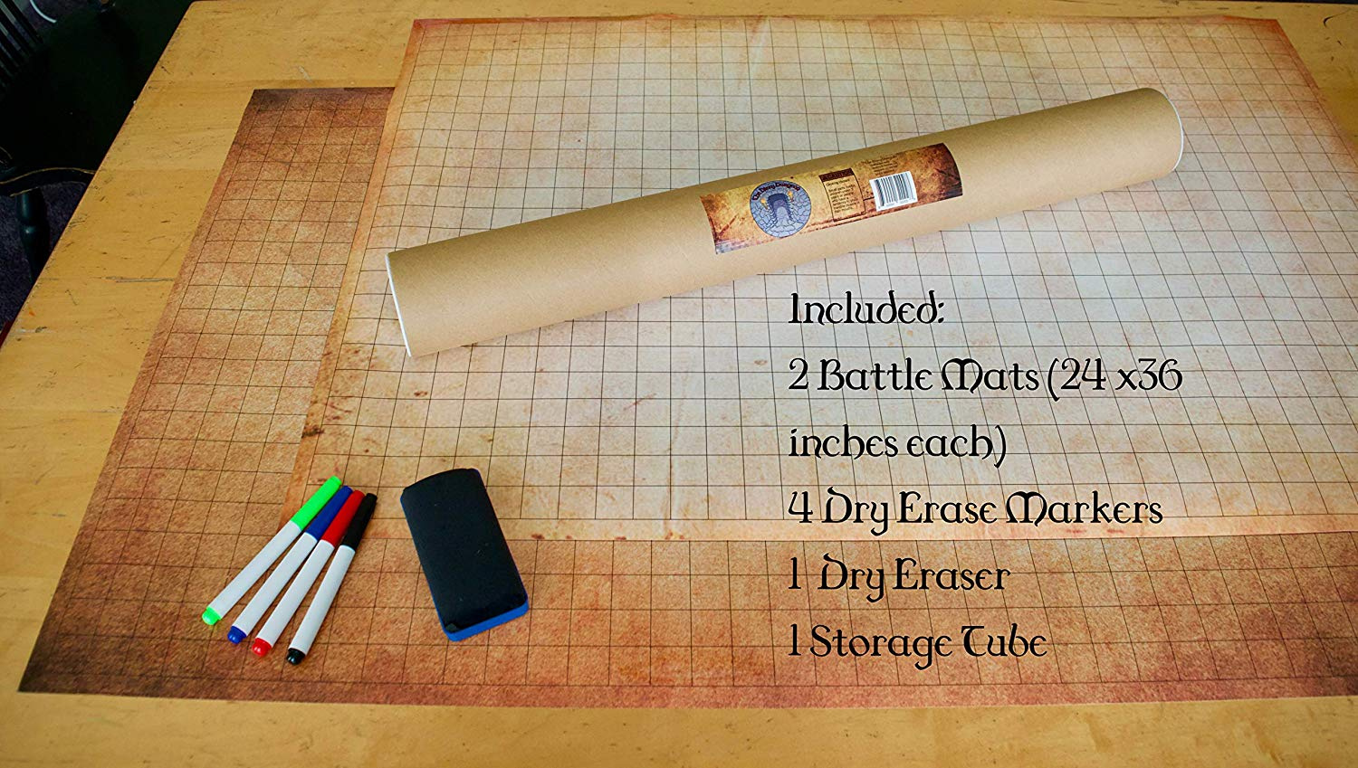 """Dungeons and Dragons (DND) Erasable Battle Gaming Mat   Tabletop Grid Board  - Vinyl Map   24"""" x 36"""" with 1"""" Grid System   Includes 4 Coloured Markers"""