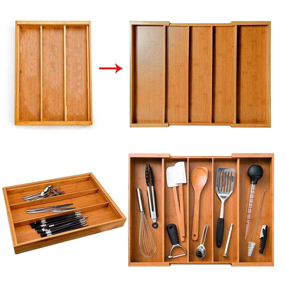 Expandable Cutlery Bamboo Drawer Organiser Cutlery Tray Kitchen Multi Functional Extendable Bamboo Cutlery Organiser Adjustable Drawer Organiser From