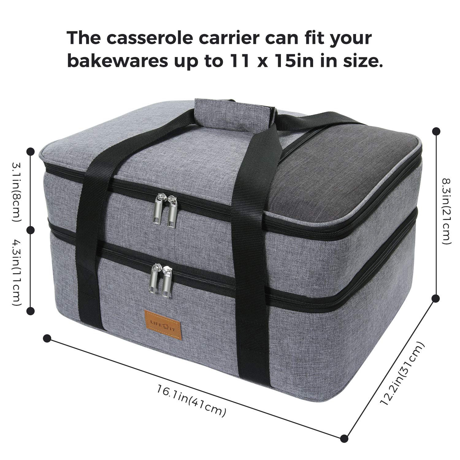 Lifewit Double Casserole Carrier Lasagna Lugger for Potluck  Parties/Picnic/Beach, Thermal Lunch Bag Tote to Keep Food Hot/Cold, Grey