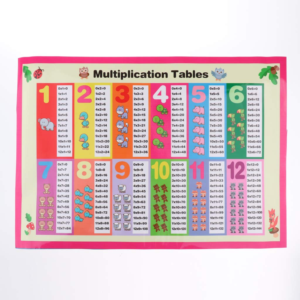 FLAMEER Childrens Educational Wall Chart Posters Home School Nursery Kids  Learning - Multiplication, 60x40cm