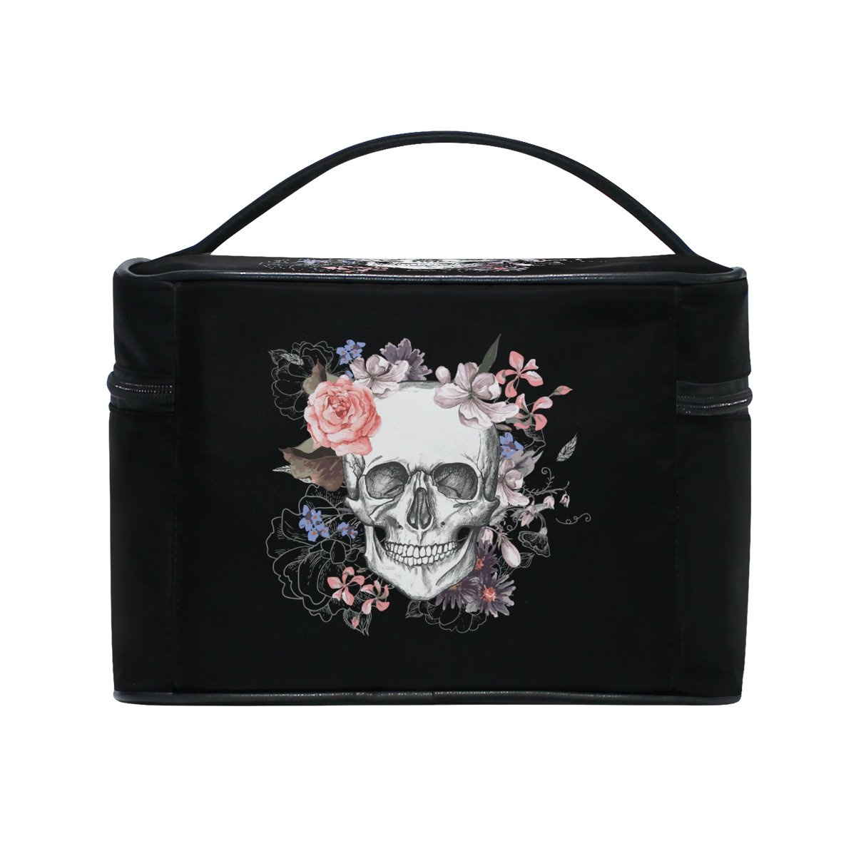 a51418a0bdfd KUWT Sugar Skull and Rose Women Travel Makeup Bag Portable Cosmetic Train  Case Toiletry Bag Beauty Organiser