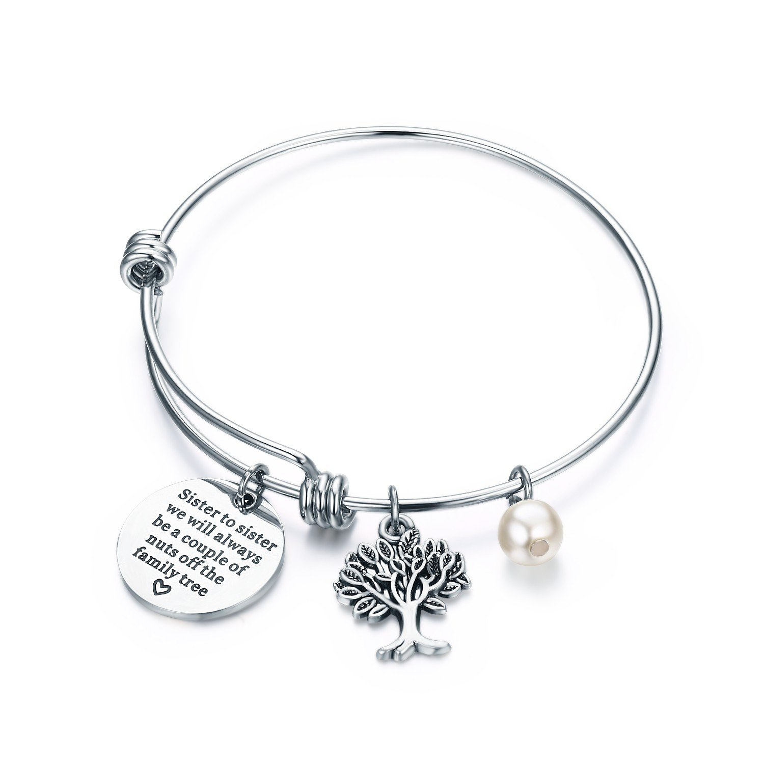 28b677f6485af CJ & M Sister Bangle Bracelets Jewellery - Sister to Sister We Will Always  Be, A Couple of Nuts from the Family Tree,Gift for Sister