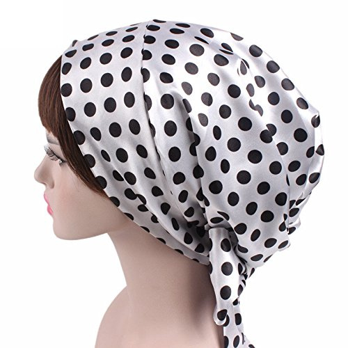 Satin Sleeping Bonnet with Drawstring - Polk Dot Hat for Women Patient fits  Long Curly Natural Hair