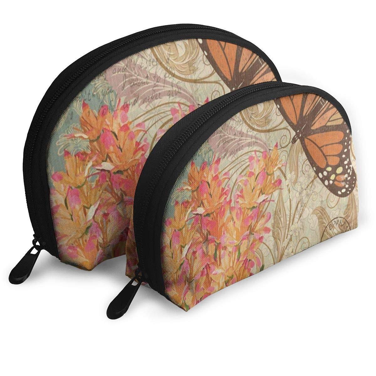 28e012a3e12d Travel Bags Vintage Flower Animal Butterfly Toiletry Shell Beauty Bag For  Women/Girls