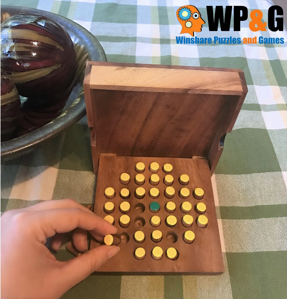 Solitaire Pegs Strategy Wooden Game