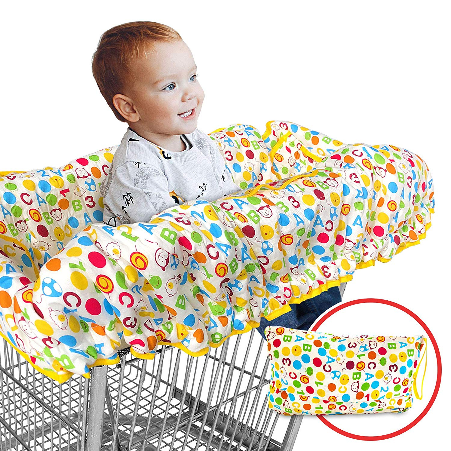 Arrow Print Machine Washable Lekebaby 2-in-1 Shopping Cart Seat Cover Restaurant High Chair Cover for Infants Toddler and Baby