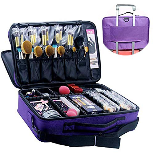 f47a2da7af60 MONSTINA Makeup Train Cases Professional Travel Makeup Bag Cosmetic Cases  Organiser Portable Storage Bag for Cosmetics Makeup Brushes Toiletry Travel  ...