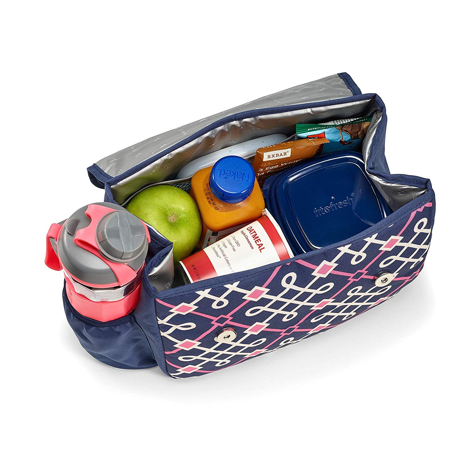 a95132a78f0d Fit & Fresh Lovelock Insulated Lunch Bag Kit for Women with BPA-Free  Container Set and Shaker Bottle, Navy Hilton Garden