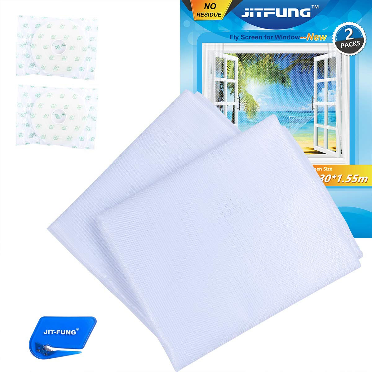 JIT-FUNG Mosquito Net for Windows-2 Packs [NO Residue], Fly Screen Insect  Mesh 1 3m x 1 55m, with 2 Rolls Self-Adhesive Tapes, White, 3 0