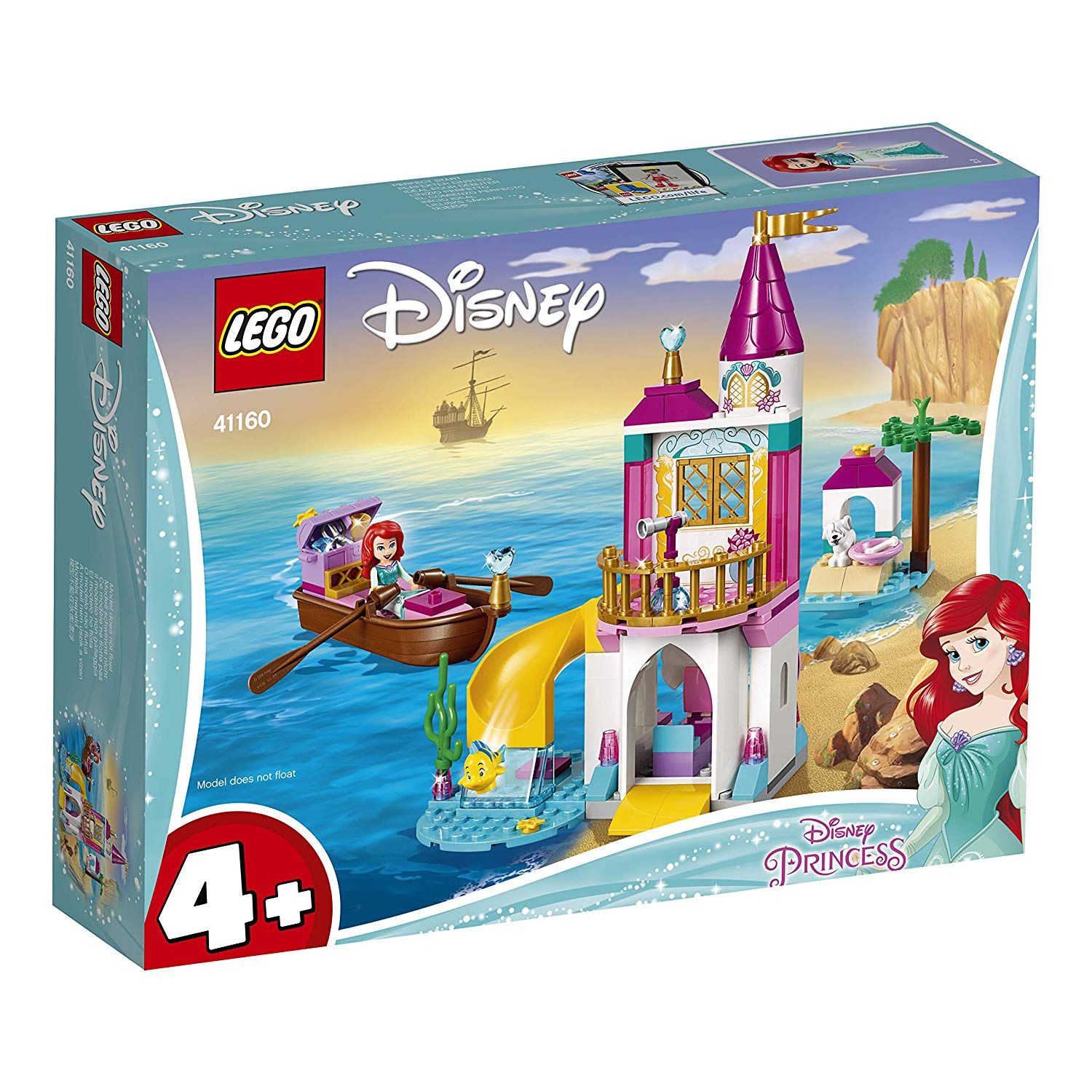 LEGO 41160 Disney Princess Ariel's Seaside Castle Set with Mini Doll and  Boat Toy, The Little Mermaid Toys
